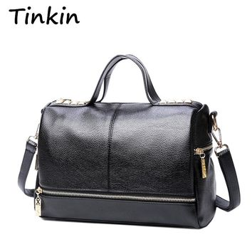 Tinkin New Arrival Femal Handbag Retro Motorcycle Messenger Bag Rivet Leather Laptop Tote Bag Women Shoulder Bag