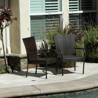 Sturdy Outdoor Wicker Chairs Set Of Two Stackable Patio Furniture Brown Finish