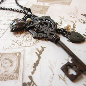 Black Key Charm Necklace - Victorian Antique Brass Heart Swallow Pendant