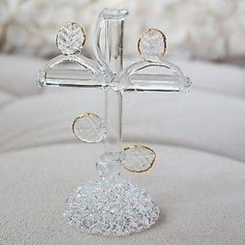 High Quality Vintage Hand Blown Glass Cross Gold Trim Decor Figurine