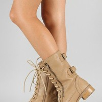 Soda Dome-SA Zipper Military Lace Up Mid Calf Boot