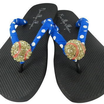 Electric Blue Polka Dot Softball Rhinestone Flip Flop Sandals