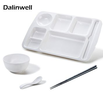 1Set Korean Fast Food Tray PLASTIC Imitation Porcelain White Melamine Lunch Box Plate Fruit Fish Dish Canteen Restaurant Supply