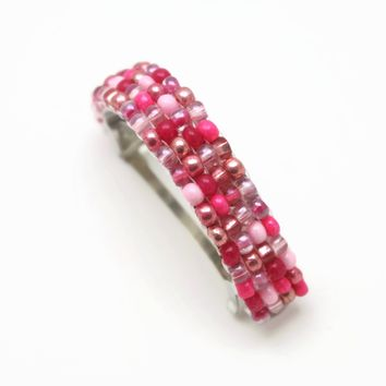 Pink And Red Beaded Ponytail Holder