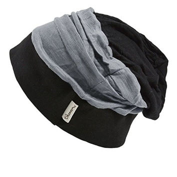 CasualBox Womens Slouchy Baggy Loose Knit Beanie Hat Striped Color Pattern Black