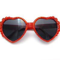 Ruby Red Heart Shaped Sunglasses - Bright Sparkly Crimson Sunnies w/ Rhinestones & Pearls - Adorable Kawaii Accessories