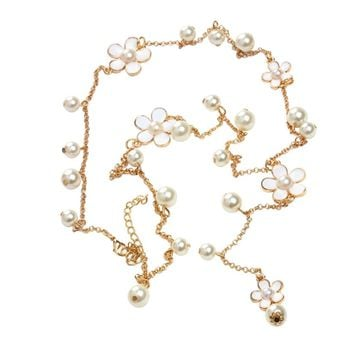 Simulated pearl Vintage Ethnic Pearl Pendant necklace For Women