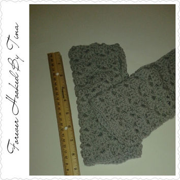 Crocheted Lace Fingerless Gloves,light grey, office gloves, fingerless mittens, texting gloves