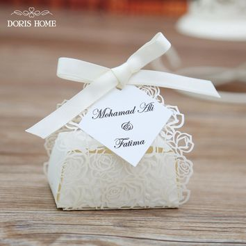 100pcs Cream Rose Laser Cut Wedding Favor Boxes Wedding Candy Box Casamento Wedding Favors And Gifts