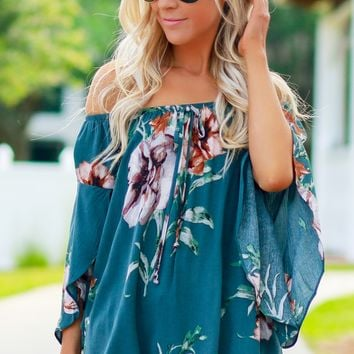 Off The Shoulder Flower Top Light Teal