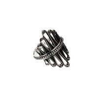 Cool Weave Embroidered Sterling Silver Spinner Ring