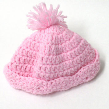 Custom Crochet Baby  Beanie with Shell Brim