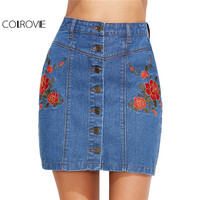 COLROVIE Pencil Denim Skirt Women Blue Vintage Floral Embroidered Button Up Skirts 2017 Fashion Summer Slim Cotton Ladies Skirt
