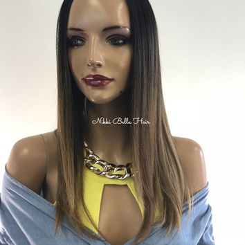 Dark Blond ombre lace front wig - Rolling River 0418 25 ON SALE