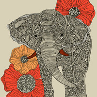 The Elephant Stretched Canvas by Valentina | Society6