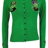 Banned Frankenstein and Bride Ladies Green Cardigan - Buy Online at Grindstore.com