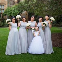 Elegant Gray Bridesmaid Dresses Long 2017 Scoop Neck Tank Chiffon Lace Vestido Madrinha