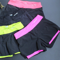 Women Sport Suit Fitness Sportswear Stretch Exercise Yoga  Shorts Trousers Pants _ 2115