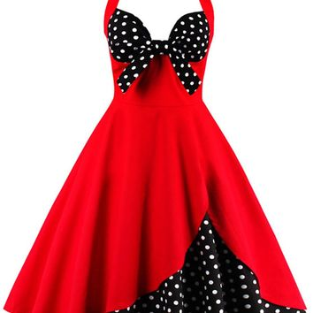 Atomic Red Halter Polka Dot Cocktail Dress