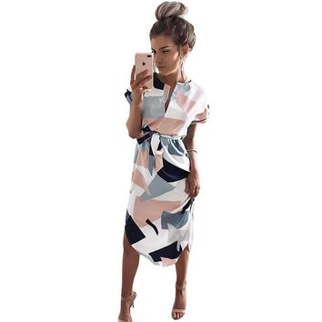 New Arrivals Women Printed  Vestidos Hot Summer Sexy V-Neck Cinch Waist Slim Dress Casual Work Office Business Dresses WS221Y