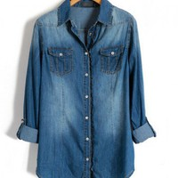 Pearl Button Denim Shirts with Fluted Trim