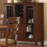 Homelegance Clayton Glass Door Curio w/ Wine Rack in Dark Oak
