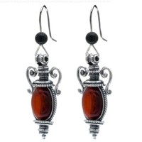 Cherry Amber Sterling Silver Catherine the Great Collection Antique Reproduction Style Hook Earrings
