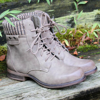 Shady Groves Khaki Lace Up Combat Ankle Boots With Sweater Detail