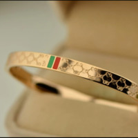 Gucci:Plated 18k rose gold titanium steel high-end temperament diamond-shaped red and green bracelet bracelet couple fashion
