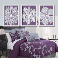 Purple Lavender Gray Flower Burst Outline Dahlia Floral Bloom Artwork Set of 3 Prints WALL Decor Abstract ART Picture Bedroom Bathroom