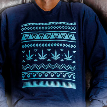 Marijuana Aztec Sweater Patterned Crew Neck!
