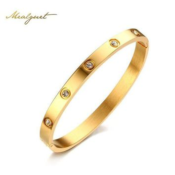 DCCKFV3 Meaeguet Rose Gold Color Crystal Bangle For Trendy Women Cuff Bracelet Bangles Stainless Steel Jewelry 6mm Wide