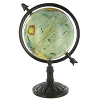 "14"" Natural Color Globe on Dark Wood Stand 