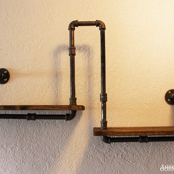 Pipe Shelf / Wall or Corner - Industrial Chic - Rustic Modern - Pipe decorations - Pine Wood Shelf - Corner Shelf - Industrial Home Decor