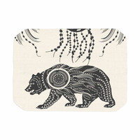 "Famenxt ""Boho Ornate Bear"" Beige Black Place Mat"