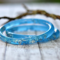 Aqua Blue Thin Resin Bangle Bracelet With Metallic Silver Flakes, Handmade Resin Jewelry, Stacking Bracelets