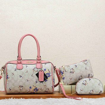 Coach Women Sell Well Fashion Print Handbag Shoulder Bag Set Three-Piece