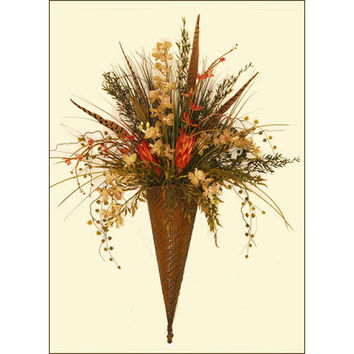 Floral Home Decor SC08 Feather, Grass, and Orchid Wall Sconce Metal Wall Accent