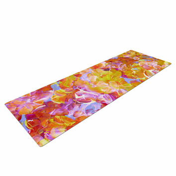 "Ebi Emporium ""Bloom On! Yellow Orange"" Pink Orange Yoga Mat"