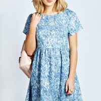 Sarah Snow Wash Denim Smock Dress