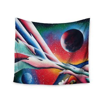 "Infinite Spray Art ""String Theory "" Red Blue Wall Tapestry"