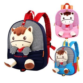 Toddler Kid Anti Lost Backpack Cute Plush Zebra Toy Baby Boys Girls Preschool Bags Kindergarten Children Canvas Cotton Schoolbag