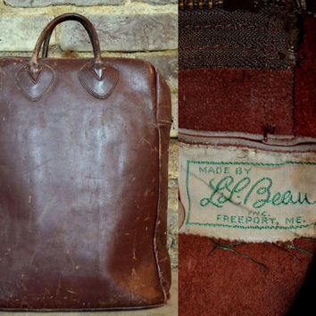RARE Vintage 40's L.L. Bean Leather Field Tote Shopper Bag