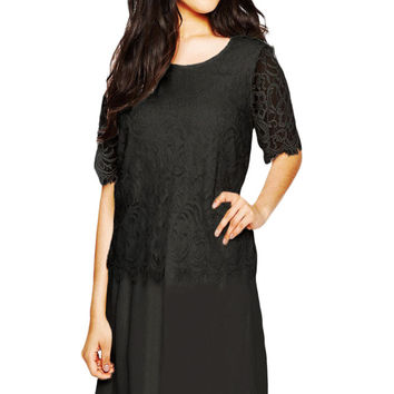 Black Eyelash Lace Overlay Chiffon Swing Dress