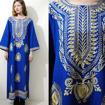 60s 70s Vintage EMBROIDERED Dress Gold Embroidery Tunic Blue Cotton Kaftan Moroccan Long Maxi Bohemian Hippie Gypsy 1960s 1970s vtg M-L