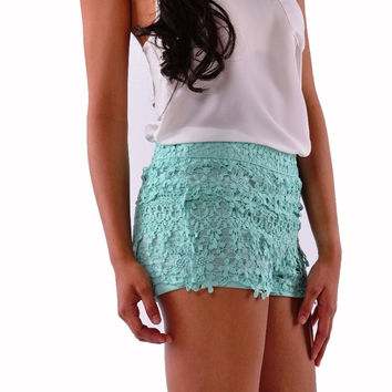 Mint Floral Crochet Lace Shorts