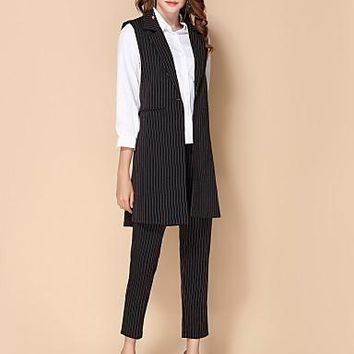 SHE IN SUN Women's Daily Work Casual Street chic Fall Vest,Striped Shirt Collar Sleeveless Long Polyester
