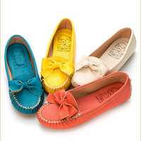 BN Womens Cute ribbon Slip-On Flats Shoes in Beige,Orange, Yellow, Blue-Green