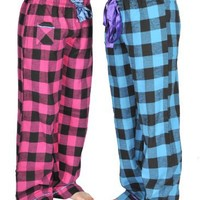 Alki'i 2-pack Women's Flannel Pajama Pants set with satin detail, Turquoise/Fuchsia, XL