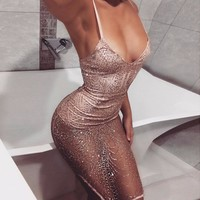 Sexy Deep V-Neck Dress Women Spaghetti Strap Bodycon Sequins Dress Summer Backless Off Shoulder Sleeveless Party Dresses 2017